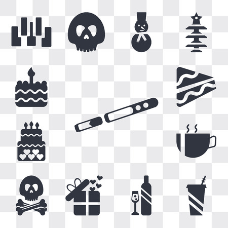Set Of 13 simple editable icons such as Sax, Soda Drink, Glass and bottle of wine, Birthday present, Pirate head, Hot coffee cup with hearts, cake, Piece web ui icon pack