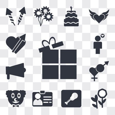 Set Of 13 simple editable icons such as Open Present Box, Flower bouquet, Waiter with a roast chicken, Identification Pass, Clown head, Male and female, Amplifier, web ui icon pack