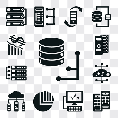 Set Of 13 simple editable icons such as Database, Server, Computer, Pie chart, Cloud computing, Loss, web ui icon pack