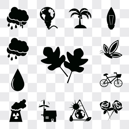 Set Of 13 simple editable icons such as Two leaves, Flower, energy source, Ecological house, Nuclear Plant, Bicycle, Drop, Butterfly, Rain Cloud, web ui icon pack