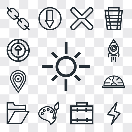 Set Of 13 simple editable icons such as Sun, Lightning, Briefcase, Paint, Folder, Speedometer, Placeholder, Rocket launch, Upload, web ui icon pack