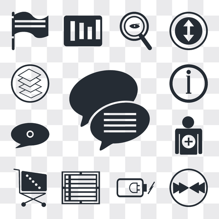 Set Of 13 simple editable icons such as Conversation speech bubbles, Download arrow, Battery power, Create list button, Supermarket Shopping cart, Add, Speech bubble black, web ui icon pack