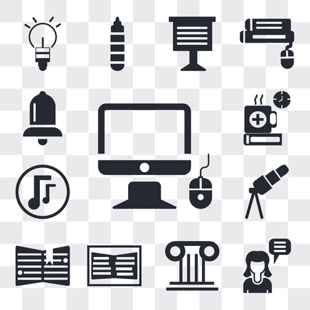 Set Of 13 simple editable icons such as Monitor and computer mouse, Girl speaking, Greek column, Open book, Notebook with bookmark, Telescope, Musical note, web ui icon pack Иллюстрация