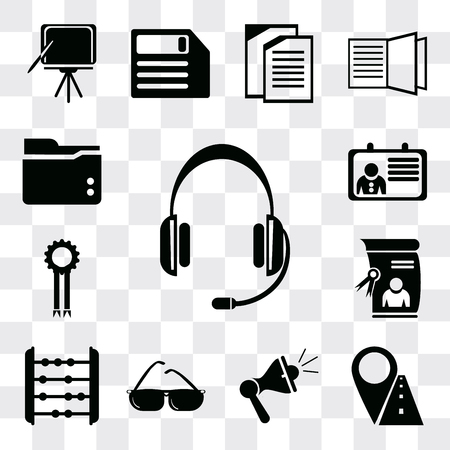 Set Of 13 simple editable icons such as Headset, Marker, Megaphone, Sunglasses, Abacus, Diploma, Medal, Id card, Folder, web ui icon pack Ilustração