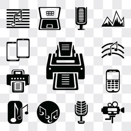 Set Of 13 simple editable icons such as Printer, Video camera, Microphone of vintage de, Music note, Musical Mobile phone, Tablet, web ui icon pack