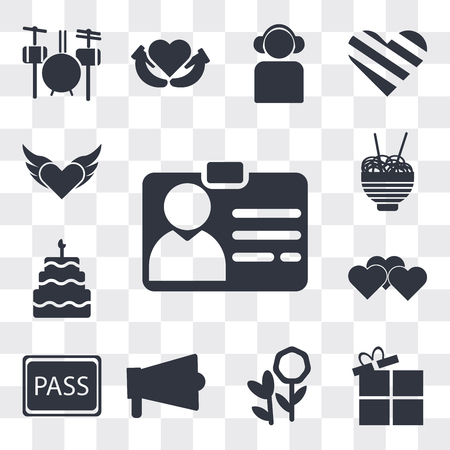 Set Of 13 simple editable icons such as Identification Pass, Open Present Box, Flower bouquet, Amplifier, VIP pass, Heart, Five birthday cake, Chinese food box, web ui icon pack Ilustração
