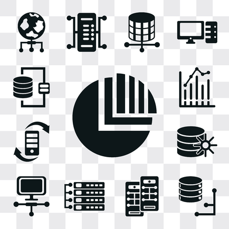 Set Of 13 simple editable icons such as Pie chart, Database, Server, Laptop, Transfer, Bar web ui icon pack