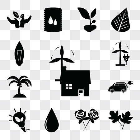 Set Of 13 simple editable icons such as Ecological house, Two leaves, Flower, Drop, Eco energy, Electric Car, Coconut tree, Plug, Light Bulb, web ui icon pack Ilustração