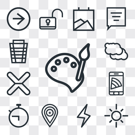 Set Of 13 simple editable icons such as Paint, Sun, Lightning, Placeholder, Timer, Smartphone, Cancel, Cloud, Garbage, web ui icon pack Ilustração