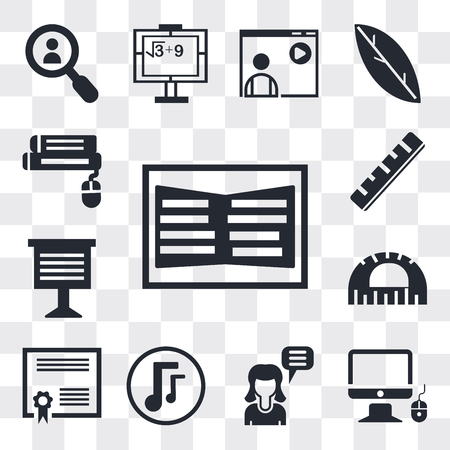 Set Of 13 simple editable icons such as Open book, Monitor and computer mouse, Girl speaking, Musical note, Graduation Diploma, Protractor, Teacher giving lecture, Ruler, web ui icon pack