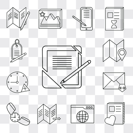Set Of 13 simple editable icons such as Notebook, Browser, Map, Phone call, Mail, Stopwatch, Price tag, web ui icon pack Ilustração