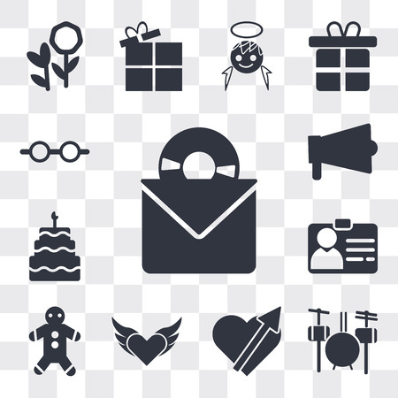 Set Of 13 simple editable icons such as Long Play Record Cover, Drummer Set, Heart pierced by an arrow, Devil heart with wings, Gingerbread, Identification Pass, web ui icon pack Ilustração