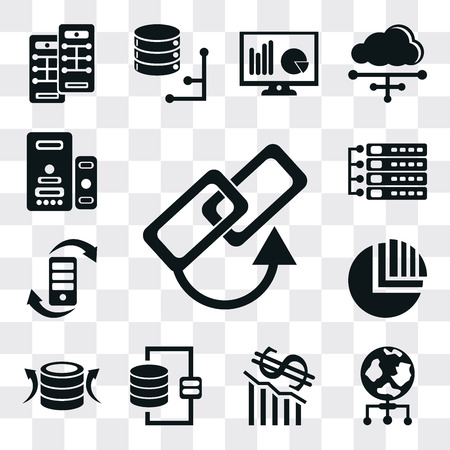 Set Of 13 simple editable icons such as Link, World, Loss, Database, Back up, Pie chart, Transfer, Server, web ui icon pack