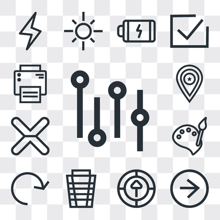 Set Of 13 simple editable icons such as Settings, Right arrow, Upload, Garbage, Refresh, Paint, Cancel, Placeholder, Printer, web ui icon pack Ilustração