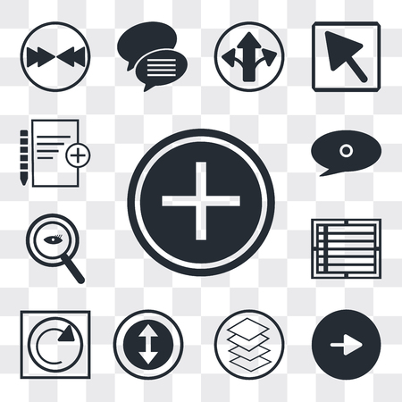 Set Of 13 simple editable icons such as Nurse cross, Play button, Overlay, Selectioned Circle, Reload webpage, Create list Magnifying Glass Searcher, web ui icon pack Ilustração