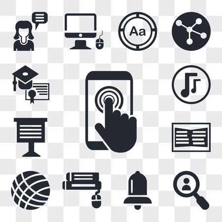 Set Of 13 simple editable icons such as Touch screen, Magnifying glass, Alarm bell, Book and computer mouse, Volley ball, Open book, Teacher giving lecture, Musical note, web ui icon pack