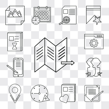 Set Of 13 simple editable icons such as Map, Notebook, Stopwatch, Placeholder, User, Smartphone, Browser, List, web ui icon pack Ilustração