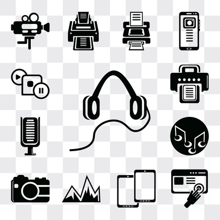 Set Of 13 simple editable icons such as Headphones, Images interface, Tablet, Image with mountains, Photo camera, Music note, Microphone, Printer, frame, web ui icon pack Ilustração
