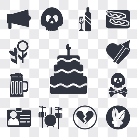 Set Of 13 simple editable icons such as Five birthday cake, Mistletoe Leaves, Broken heart, Drummer Set, Identification Pass, Pirate head, Jar of Beer, web ui icon pack