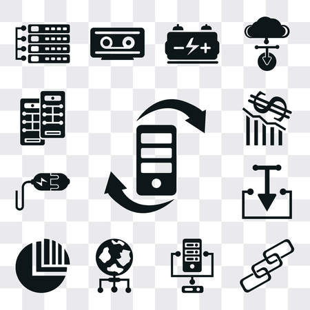 Set Of 13 simple editable icons such as Transfer, Link, Server, World, Pie chart, Download, Plug, Loss, web ui icon pack
