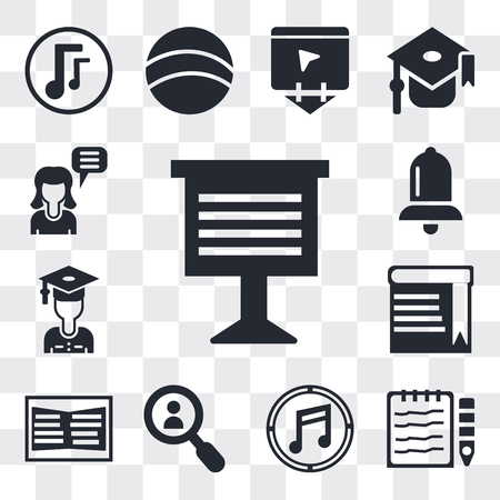 Set Of 13 simple editable icons such as Teacher giving lecture, Notebook and pencil, Musical note, Magnifying glass, Open book, Book with bookmark, Stack of books, web ui icon pack Ilustração