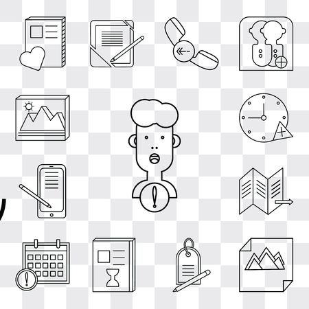 Set Of 13 simple editable icons such as User, Image, Price tag, List, Calendar, Map, Smartphone, Stopwatch, web ui icon pack