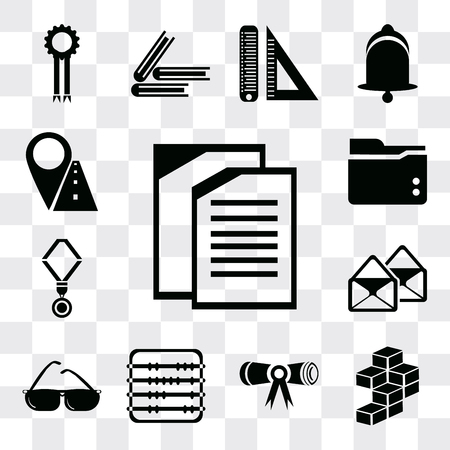 Set Of 13 simple editable icons such as Copy, Cube, Diploma, Abacus, Sunglasses, Email, Medal, Folder, Marker, web ui icon pack