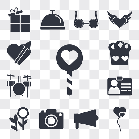 Set Of 13 simple editable icons such as Lollipop, Two Heart shaped balloons, Amplifier, Digital Photo Camera, Flower bouquet, Identification Pass, Drummer Set, web ui icon pack