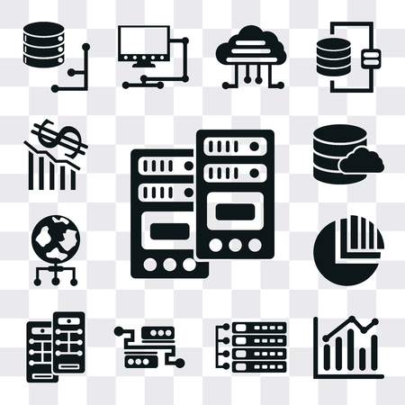 Set Of 13 simple editable icons such as Server, Bar chart, Pie World, Database, Loss, web ui icon pack