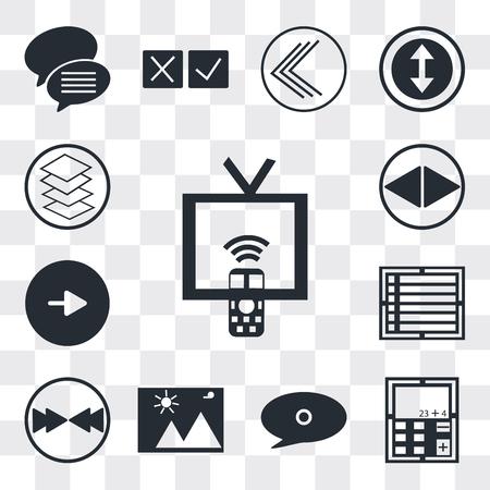 Set Of 13 simple editable icons such as Tv remote, Calculator, Speech bubble black, Landscape Image, Download arrow, Create list button, Play Navigation web ui icon pack Ilustração