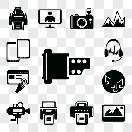 Set Of 13 simple editable icons such as Film strip of two photograms, Image with shadow interface, Printer, Printer written paper, Video camera, Music note, web ui icon pack