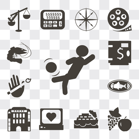 Set Of 13 simple editable icons such as Person kicking ball with the knee, Apple and grapes, Ship, Heart rate monitor, Hotel building, Cooked fish, No smoking, Safe money, web ui icon pack