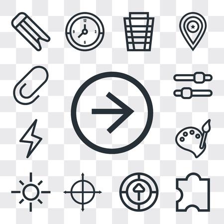 Set Of 13 simple editable icons such as Right arrow, Puzzle, Upload, Target, Sun, Paint, Lightning, Settings, Clip, web ui icon pack Ilustração