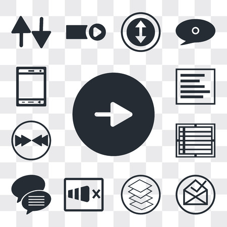 Set Of 13 simple editable icons such as Play button, File inbox, Overlay, Sound on, Conversation speech bubbles, Create list Download arrow, Left side alignment, web ui icon pack