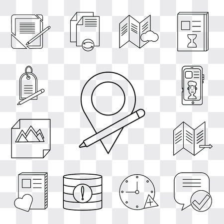 Set Of 13 simple editable icons such as Placeholder, Speech bubble, Stopwatch, Database, Notebook, Map, Image, Smartphone, Price tag, web ui icon pack Ilustração