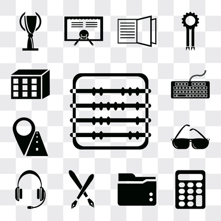 Set Of 13 simple editable icons such as Abacus, Calculator, Folder, Fountain pen, Headset, Sunglasses, Marker, Keyboard, Cubes, web ui icon pack