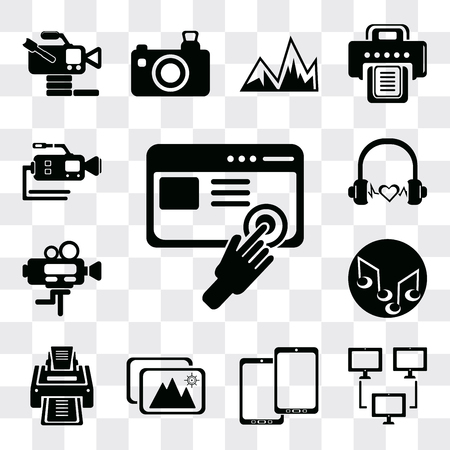 Set Of 13 simple editable icons such as Images interface, Computer and monitor tools, Tablet, Images, Printer, Music note, Video camera, Headphone black shape, web ui icon pack Ilustração