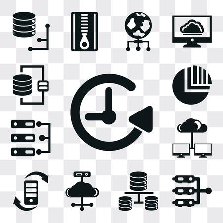 Set Of 13 simple editable icons such as Back up, Server, Database, Cloud computing, Transfer, Pie chart, web ui icon pack Ilustração