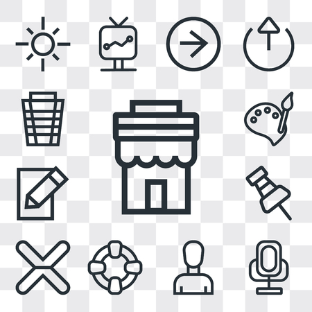 Set Of 13 simple editable icons such as Store, Voice recorder, Profile, Help, Cancel, Push pin, Edit, Paint, Garbage, web ui icon pack