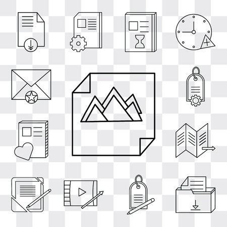 Set Of 13 simple editable icons such as Image, File, Price tag, Video player, Notebook, Map, Mail, web ui icon pack