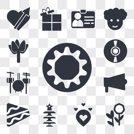 Set Of 13 simple editable icons such as Chocolate donut, Flower bouquet, Love pointer, Christmas tree with Star, Piece of cake, Amplifier, Drummer Set, Dj hand motion, web ui icon pack