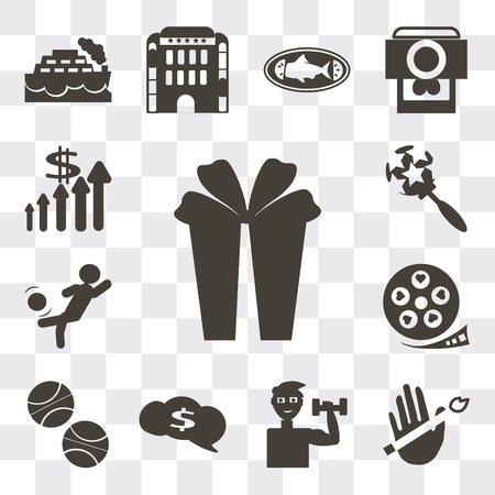 Set Of 13 simple editable icons such as Gift box with ribbon, No smoking, Exercise dumbbells, Speech bubbles dollar, Basketball, Film strip heart, web ui icon pack Ilustração