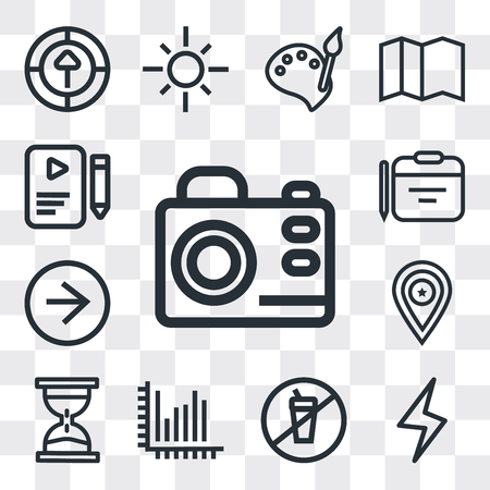 Set Of 13 simple editable icons such as Photo camera, Lightning, Prohibition, Stats, Waiting, Placeholder, Right arrow, Calendar, File, web ui icon pack