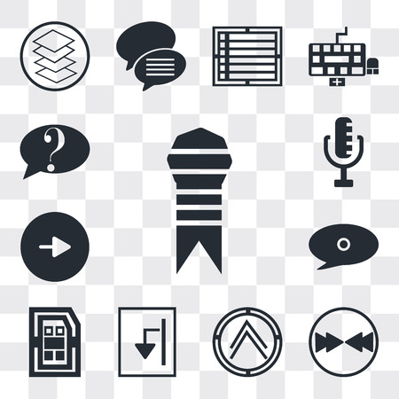 Set Of 13 simple editable icons such as Ribbon from a book, Download arrow, Pointing up Export Archive, Sim card, Speech bubble black, Play button, RAdio Microphone, web ui icon pack
