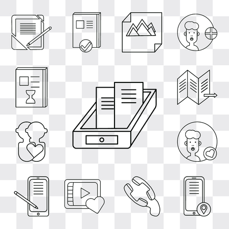 Set Of 13 simple editable icons such as Archive, Smartphone, Phone call, Video player, User, Map, List, web ui icon pack