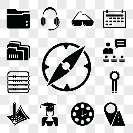 Set Of 13 simple editable icons such as Compass, Marker, Clock, Mortarboard, Pencil, Medal, Abacus, Presentation, Folder, web ui icon pack Ilustração