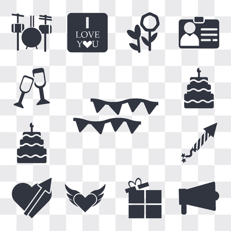 Set Of 13 simple editable icons such as Party decoration, Amplifier, Open Present Box, Devil heart with wings, Heart pierced by an arrow, Firecrackers, Five birthday cake, web ui icon pack