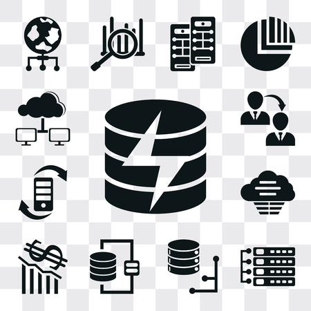 Set Of 13 simple editable icons such as Database, Server, Loss, Cloud, Transfer, Computing cloud, web ui icon pack Ilustração