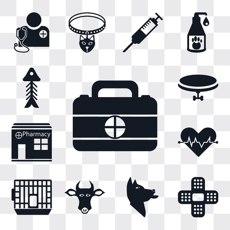 Set Of 13 simple editable icons such as First aid kit, Plaster, Dog, Cow, Cage, Cardiogram, Pharmacy, Collar, Fishbone, web ui icon pack Ilustração