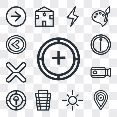 Set Of 13 simple editable icons such as Add, Placeholder, Sun, Garbage, Upload, Video camera, Cancel, Info, Left arrow, web ui icon pack Ilustração